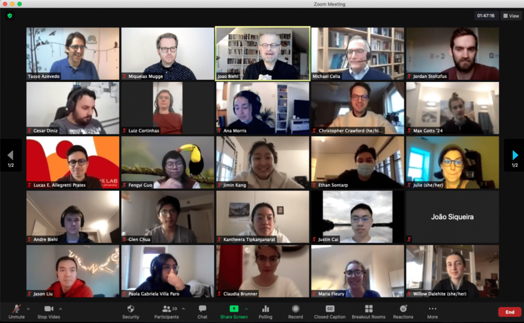 Screenshot of Zoom session showing workshop participants.