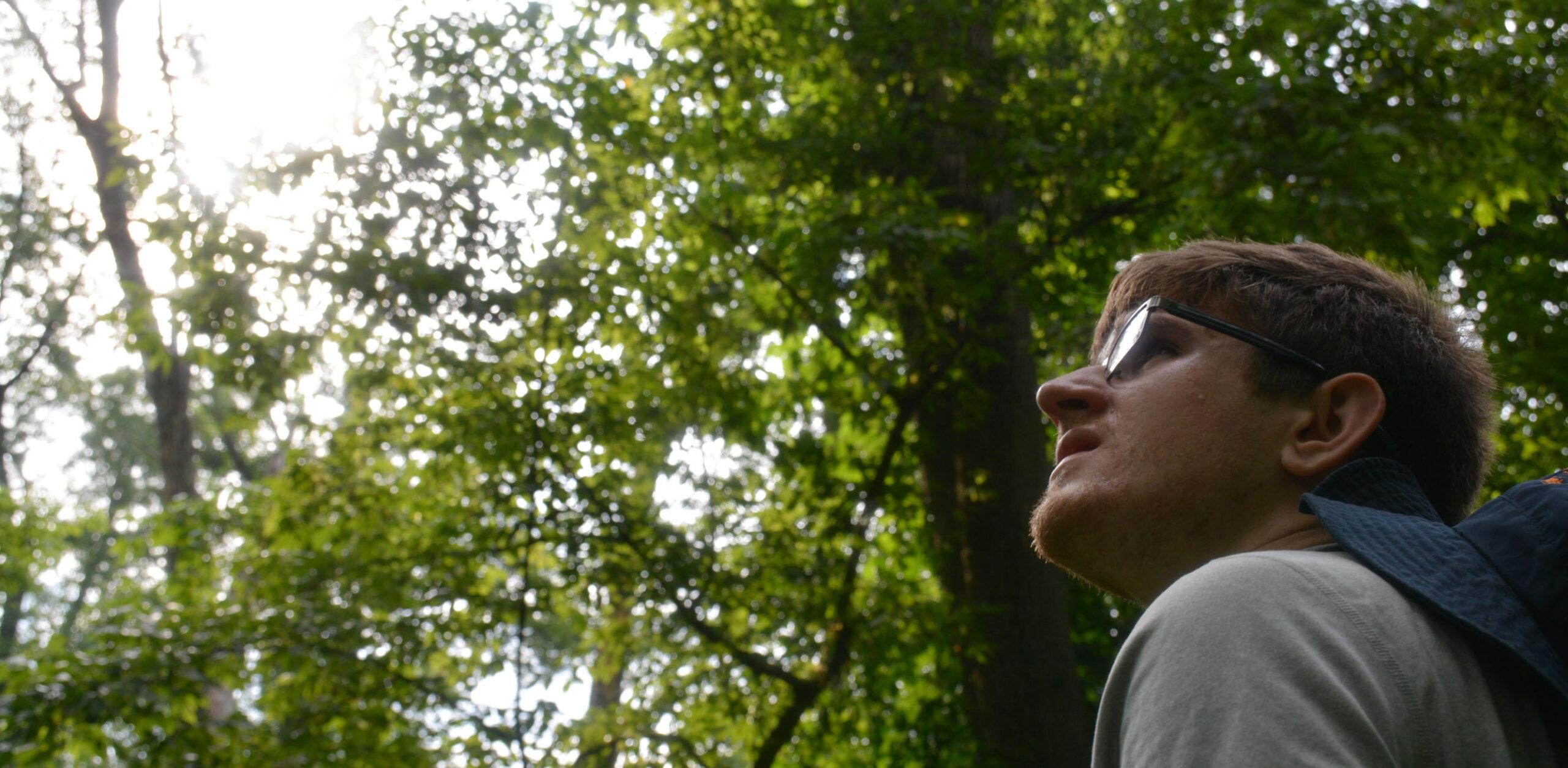 Joe Kawalec looking up at the trees