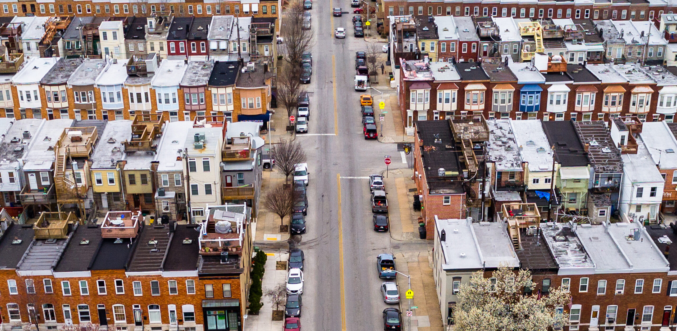Aerial view of the Patterson Park neighborhood- Baltimore, Maryland